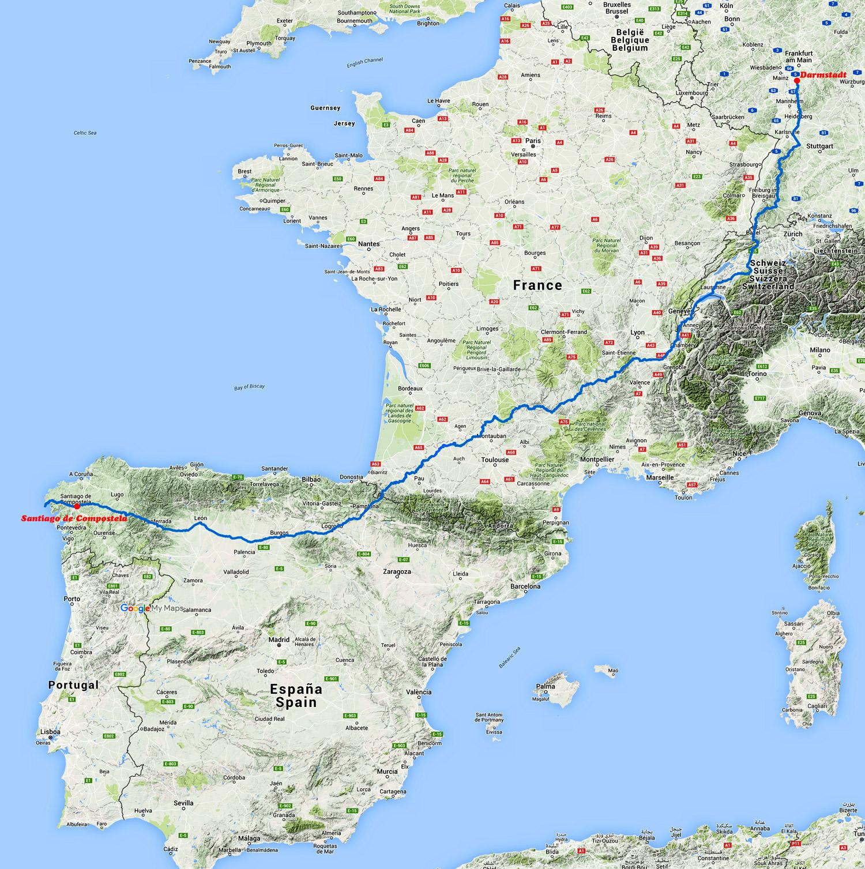 Karte meines Jakobsweges 2009